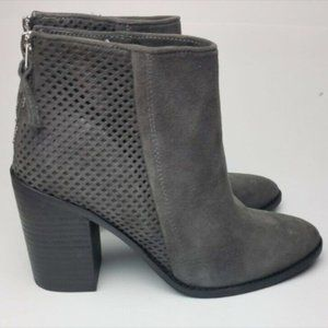 NEW STEVE MADDEN Grey Suede Zip Ankle Boots Sz 6.5
